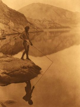 "Shores of Walker Lake by Edward Sheriff Curtis featured on the cover of Dean Kostos's poetry collection ""Rivering"""