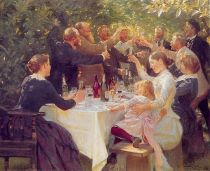 Hip hip horray! Artists celebrating at Skagen by Danish painter P.S. Krøyer, 1888