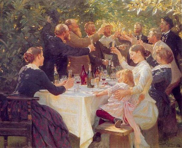 Hip hip horray! Artists celebrating at Skagen by Danish painter P.S. Krøyer, 1888