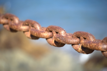 Close-up on links of a safety chain in the Presidio, San Francisco, California